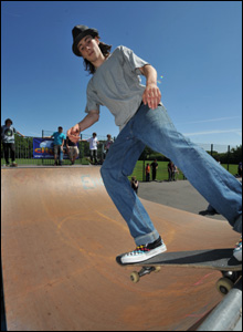 A skateboarder takes part in a competition at Dinas Powys skate park in the Vale of Glamorgan (Mike Fudge).