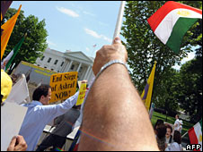 Anti-Ahmadinejad protestors demonstrate outside the White House, Washington DC, 12 June 2009