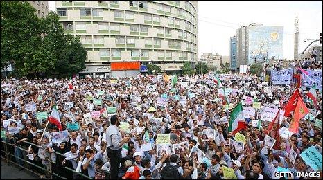 Protesters in Tehran 16.6.09