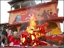 A Communist party office set on fire by villagers in Lalgarh