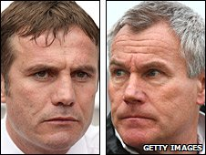 Charlton manager Phil Parkinson and Wycombe boss Peter Taylor