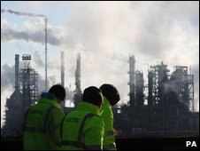 Protesters gathering outside the Lindsey Oil Refinery, North Lincolnshire. Photo dated 03/02/09