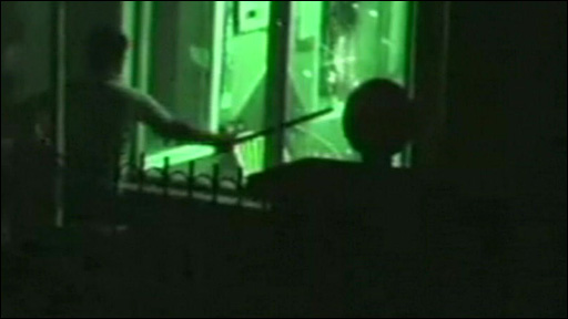 Man attacking window
