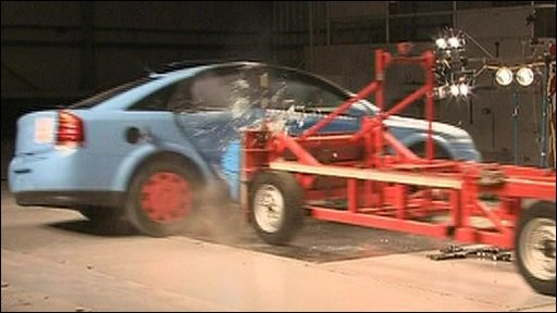 A crash test at the Thatcham insurance research centre