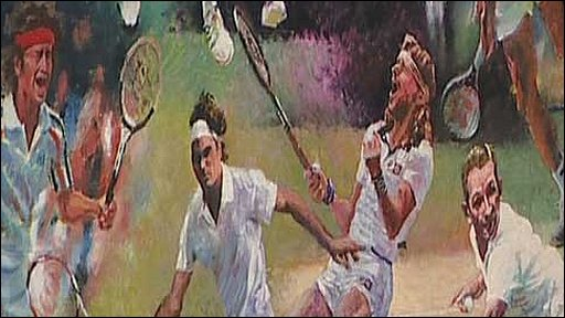 Painting by Rolf Harris of 10 Wimbledon champions