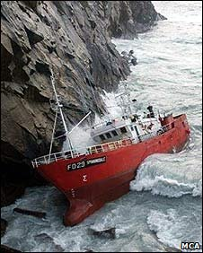 Wrecked trawler on St Kilda