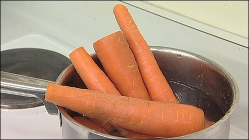 Carrots in pan