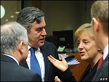 EU leaders, including UK Prime Minister Gordon Brown and German Chancellor Angela Merkel (file pic)