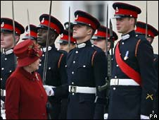 The Queen inspects a parade at Sandhurst