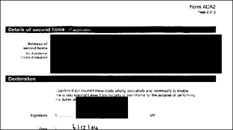 A redacted expenses claim
