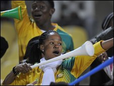 South Africa fans with vuvuzelas