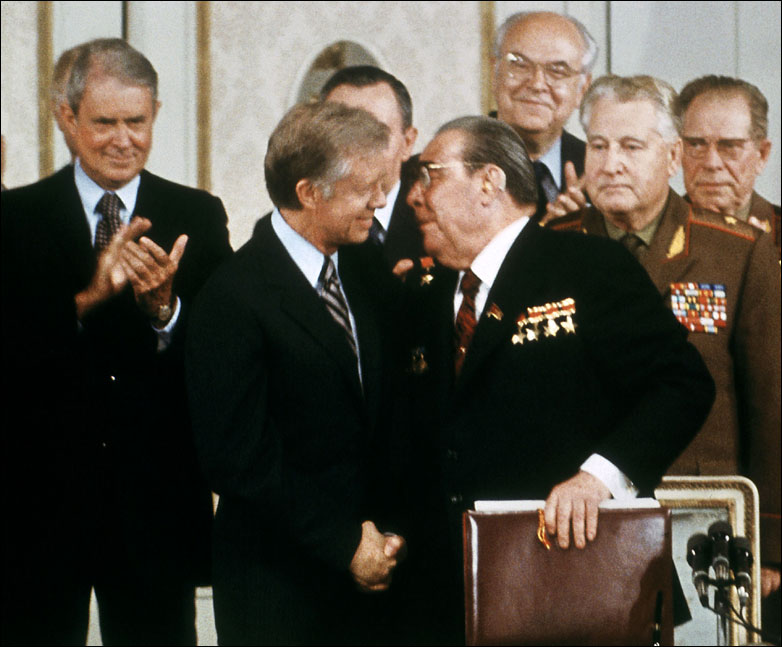 US President Jimmy Carter shaking hands with Soviet Communist leader Leonid Brezhnev, Vienna, 1979