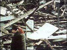Wreckage of McGurk's pub