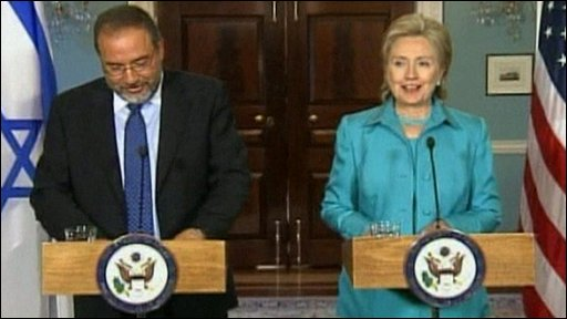 Israeli Foreign Minister Avigdor Lieberman and US Secretary of State Hillary Clinton