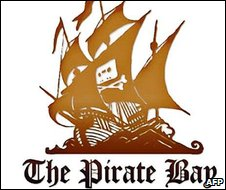 The Pirate Bay logo, with audiotape and crossbones on flag