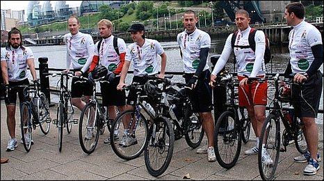 Rory Delap, third from right, and his riding colleagues at departure point