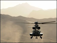 A French Caracal helicopter takes off near Kabul (14 May 2009)