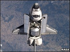 Shuttle with MPLM visible (Nasa)