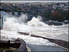 Crashing sea on shore