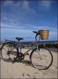 Bike on beach at St Combs