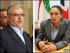 Lebanese MP Mohammed Raad of Hezbollah and British ambassador to Lebanon Frances Guy