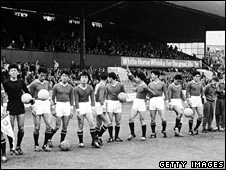 The North Korean team just before their World Cup match against Italy at Middlesbrough, the UK, on 19 July 1966