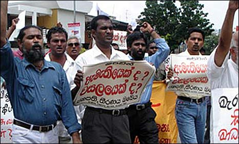Protest by journalists in Sri Lanka