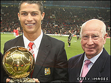 Cristiano Ronaldo and Sir Bobby Charlton
