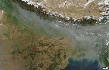 Satellite image, India pollution cloud