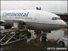Continental Airlines Flight 61 is seen at Newark Liberty International Airport on Thursday