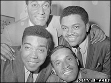 "The Four Tops, with Abdul ""Duke"" Fakir at top left"