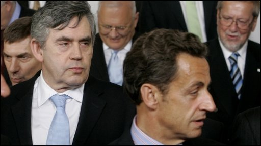 Gordon Brown and Nicolas Sarkozy at EU summit