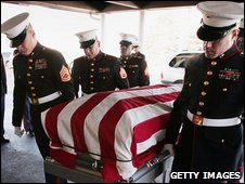 Funeral of a US Marine killed in Iraq