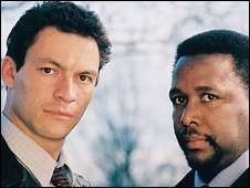 Characters McNulty and Bunk (right) from The Wire
