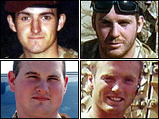 Pte Lee Ellis, Marine Gary Wright, Pte Phillip Hewett and L/Cpl Kirk Redpath (clockwise from top left)
