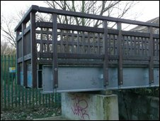 Partly-finished bridge over River Wandle, Colliers Wood