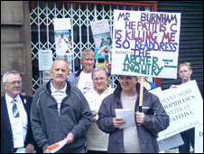 Contaminated blood protesters