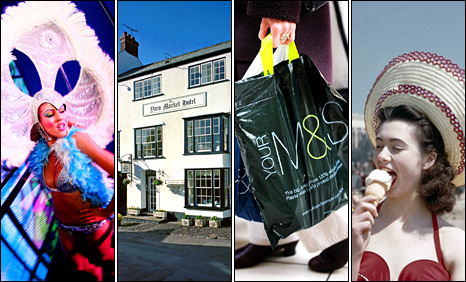Dancer at Gatecrasher nightclub, Yarn Market Hotel in Dunster, Marks and Spencer carrier bag, woman in hat eating ice-cream