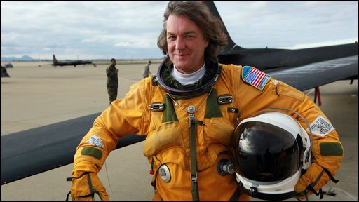 James May before he travels 70,000 feet above the earth