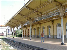 Man on empty platform