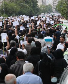 Protestors in Tehran on 18 June 2009