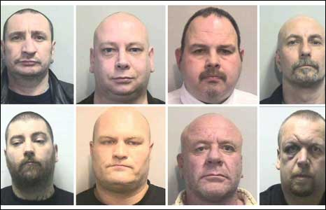 (1st row, left - right) Mark Moseley, Neale Harrison, Mark Price, Jeremy Ball. Second row L to R - Paul Arlett, Sean Timmins  Leonard Hawthorne and  Mark Larner
