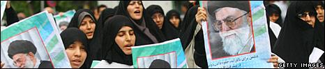 Supporters of Ayatollah Ali Khamenei parade his picture at Tehran University, 19 June 2009