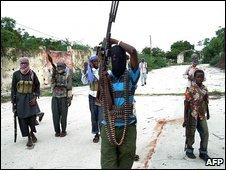 Somali Islamist fighters in Mogadishu, 17 June 2009
