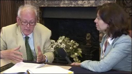 Professor Peter Hennessy talking to Sanchia Berg