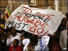 Poster calling removal of President Robert Mugabe