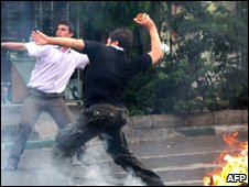 Protesters on the streets of Tehran, 20 June 2009