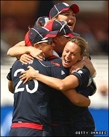 England celebrate the first wicket of the morning