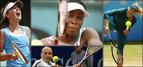 Clockwise from left: Michelle Larcher de Brito, Venus Williams, Maria Sharapova and Andre Agassi