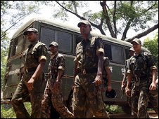 Indian paramilitary police on patrol